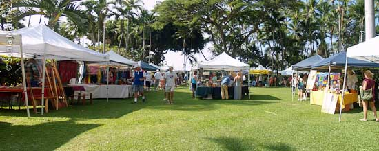 The Ho'oulu Community Farmers Market at the Keauhou Beach Resort/Outrigger Hotel in Kahalu'u, Kona.
