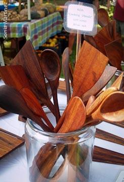 "Ernie ""Pancipanci"" Torres's koa kitchen tools."