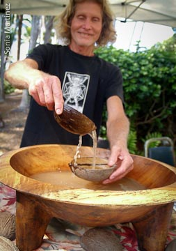 Randyl from The Sanctuary of Mana Kea serves kava.