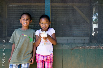 Kids holding chick at Pa'auilo Elementary & Intermediate School garden.