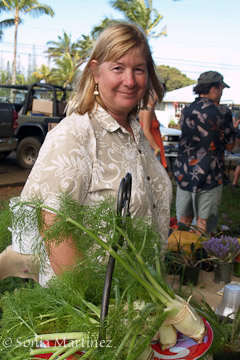 Holly Algood with her organic produce.