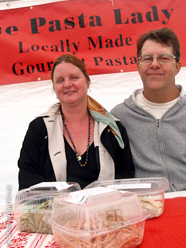 The Pasta Lady Cynthia Bologna with Ken Cutting.