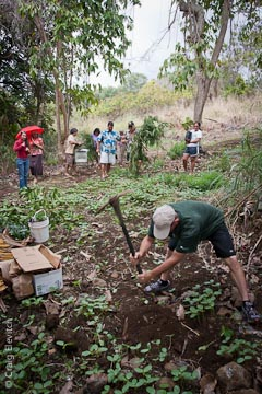 Bernard plants a breadfruit tree in as an expansion of the food forest at Kona Seventh Day Adventist Church.  The tree was donated by the Hooulu ka UluRevitalizing Breadfruit project, which is supporting the planting of breadfruit trees throughout Hawaii.