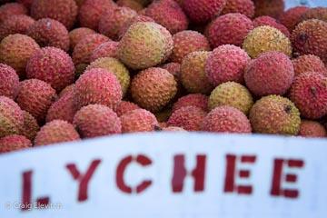 Fresh lychee at Kona farmers market.