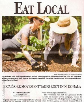 West Hawaii Today and Hilo Herald-Tribune gave front page coverage to the workshop on Sept. 27, 2010.
