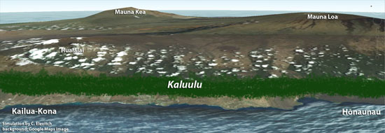 Simulation of Kona kaluulu region prior to Western contact.